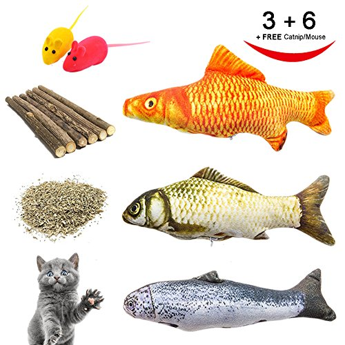 Catnip Toys, Cat Teeth Grinding Chew Toys Set - 3 Refillable Catnip Fish, 6 Catnip Matatabi Chew Sticks, 2 Squeaky Mouse, with Extra Catnip for Refill, Best for Cat, Puppy, Kitty, Kitten, Ferret by RIO Direct