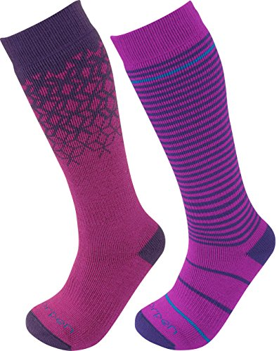 - Lorpen Unisex Youth T2 Kids Merino Ski Socks-2 Pack, Berry, Large