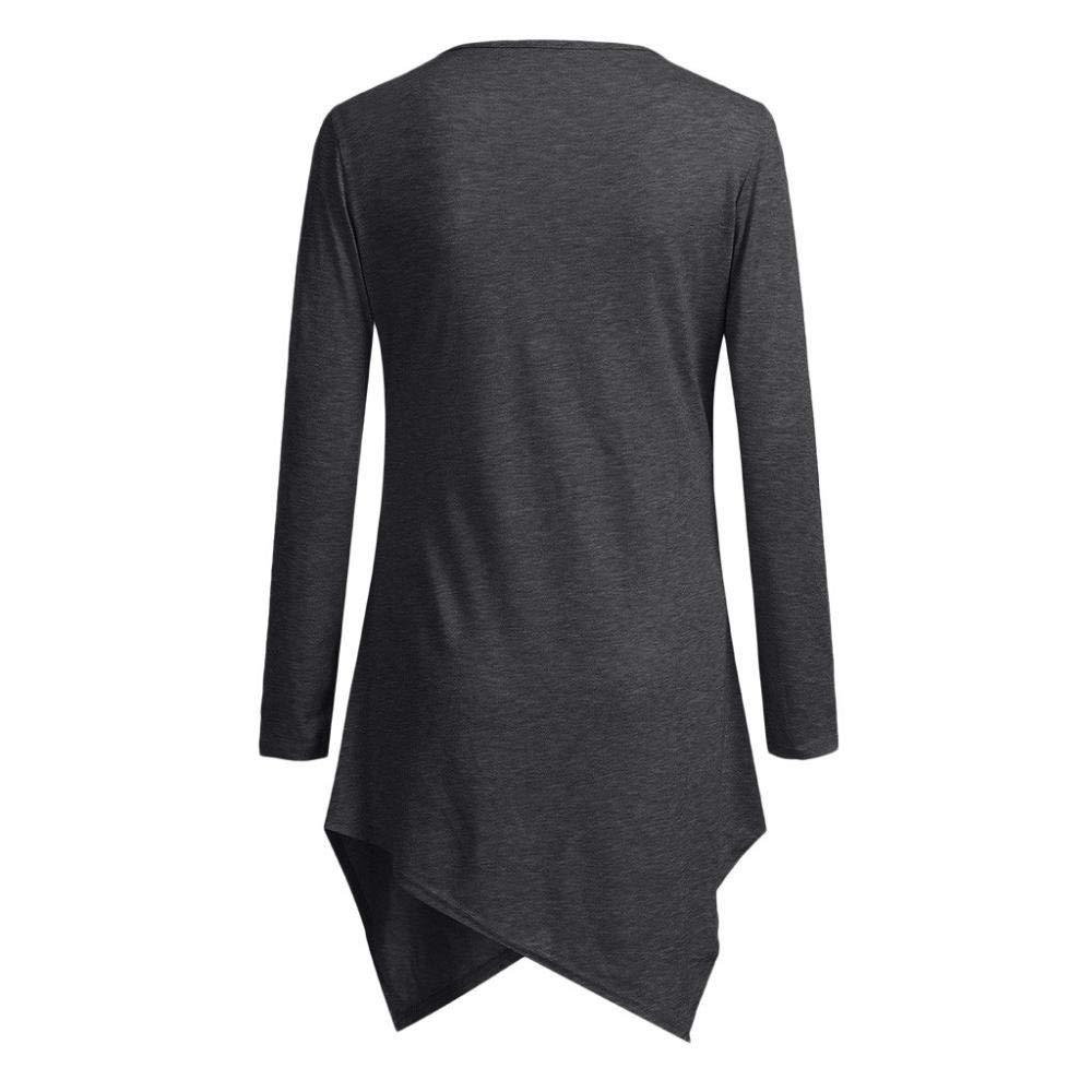 Womens Long Sleeve Asymmetrical Hem Double Layered Tunic Tops for Pregnant Women Zerototen Plain Maternity Nursing Top Pregnant Breastfeeding Shirt