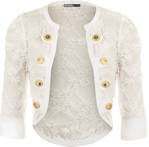 Lace Button Shrug Ruched Top