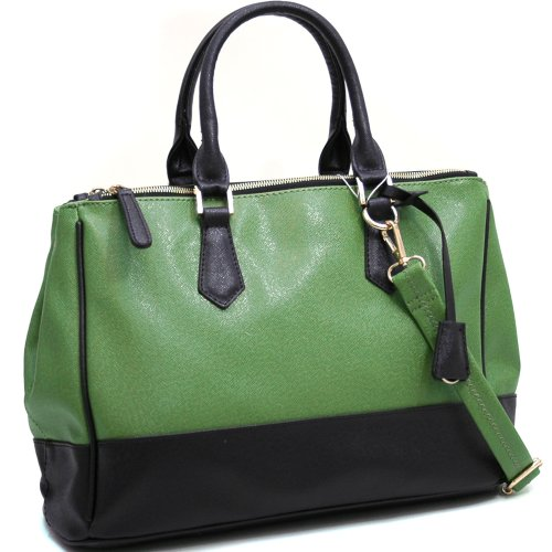 Dasein Two Toned Fashion Tote w/ Three Main Compartments -Green/Black, Bags Central