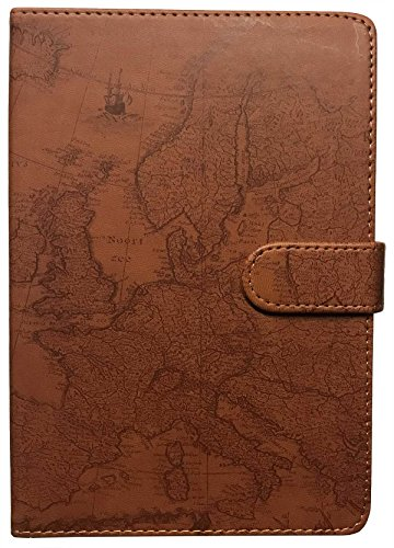(Eccolo 6 x 8 Inches Style Journal in Faux Leather (World Map Brown))