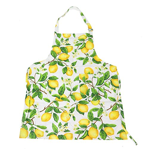 Adjustable Cotton Kitchen Apron with Pockets Lovely Lemon Tree Apron for Ladies (Tree Lemon Pattern)