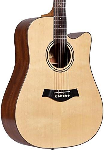 GFEI Caja de madera de chapa electrica guitarra folk principiante ...