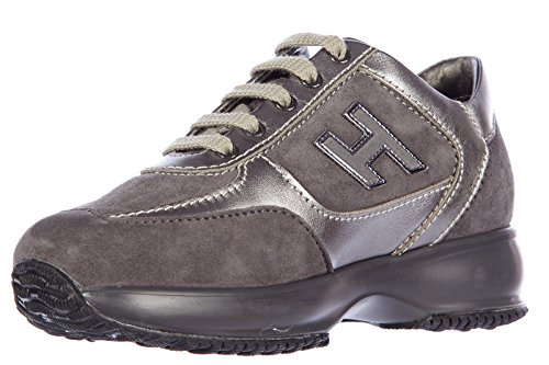 Hogan scarpe sneakers bambina cuir interactive h flock gris