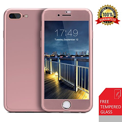 iPhone 7 Plus case/iPhone 8 Plus case,360 Full Body Protection Anti-Scratch Resistant Slim Case Non Slip Surface with Tempered Glass Screen Protector for iPhone 7 Plus/iPhone 8 Plus (Rose Gold)