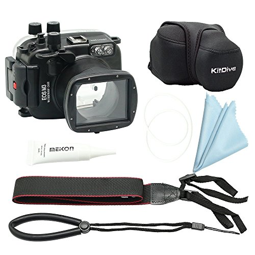 (KitDive 40M/130FT underwater waterproof camera housing for Canon EOS M3 18-55mm Port)