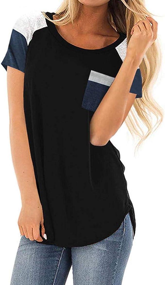 VJGOAL Moda Casual de Verano para Mujer Cuello Redondo Empalme Camisetas de Manga Corta Suelta Camiseta cómoda Blusa: Amazon.es: Ropa y accesorios