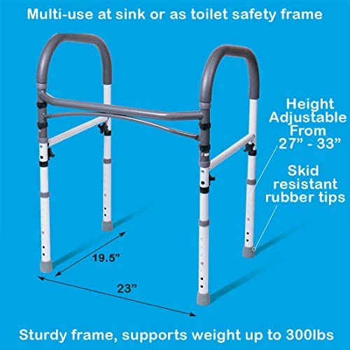 Carex Toilet Safety Rails – Toilet Handles for Elderly and Handicap – Home Health Care Equipment Toilet Safety Frame 51kithCqojL