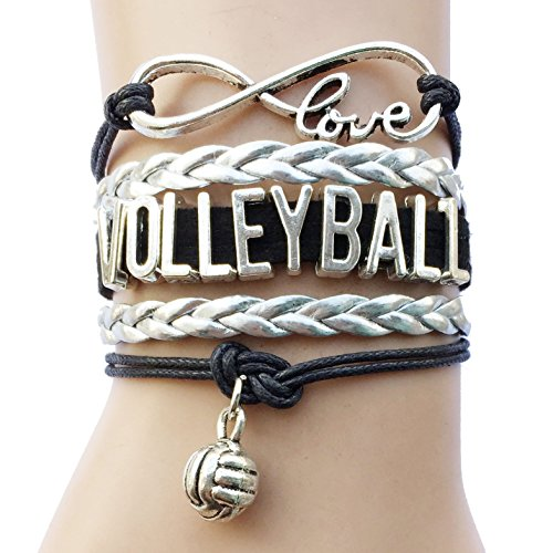 Silver Mens Volleyball (DOLON Volleyball Bracelet Jewelry-Black with Silver)