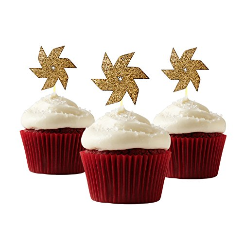 pinwheel Cup Cake Topper 12 pieces per Pack Cupcake Topper Decoration Card Stock Gold