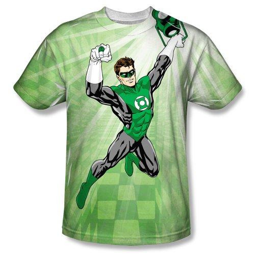 Dynamic -- Green Lantern All-Over Front Print Sports Fabric T-Shirt, Medium