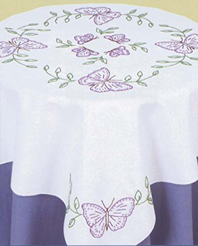 Jack Dempsey Stamped White Perle Edge Table Topper, 35-Inch by 35-Inch, - Stamped Table Topper Embroidery