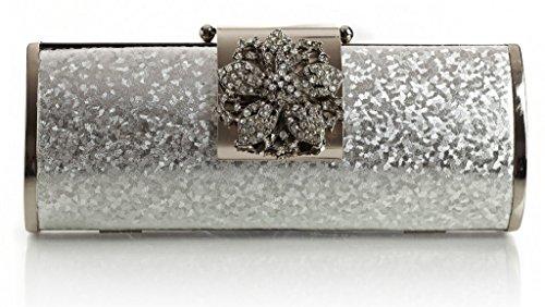 BHBS Bolso Pequeño de Mano para Dama tipo Fiesta, de Estructura Sólida, con Cierre tipo Flor de Diamantes 22x10x5 cm (LxAxP) Oro