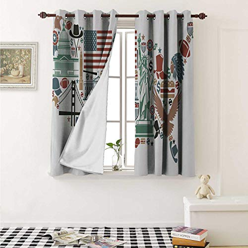 (Map Decor Curtains by Traditional Symbols in The Form of United States of America Map Travel Landmarks Flag Curtains Girls Bedroom W63 x L63 Inch Multicolor )