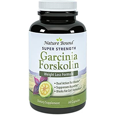Garcinia Cambogia and Forskolin Extract Blend - Pure & Potent HCA - Natural Weight Loss Supplement for Women & Men - Guaranteed By Nature Bound - 60 Capsules