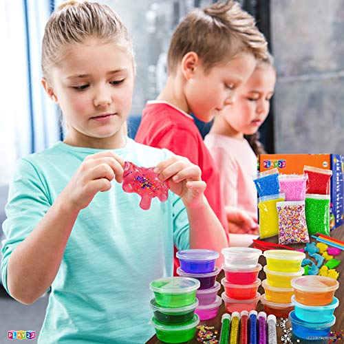 Play22 DIY Slime Kit for Kids - 18 Color Crystal Slime Making Kit, Includes Colorful Foam Balls, Fruit Face, Eyes, Stars, Glitter, Beads, Molds, Straws, Glow in Dark Powder and Much More – Original by Play22 (Image #1)