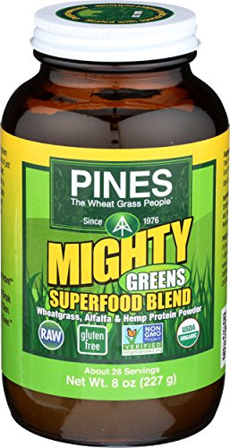 Pines International Mighty Greens Superfood Blend Powder Organic, 8 - Grass Pines Powder Wheat