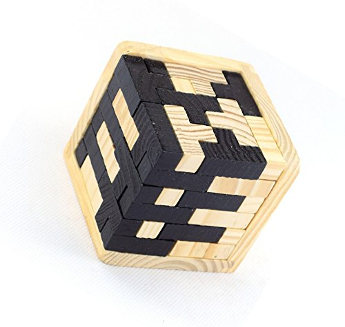 3D Tetris Luban Interlocking Wooden Puzzle Brain Teaser Burr IQ Puzzles Toy for Kids and Adults