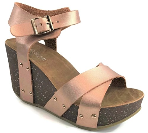 Refresh Womens Ankle Strap Platform Cork Wedge Sandal Mara-05, Rose Gold, 7.5