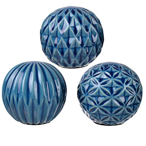 A&B Home 1157 Marbleized Ball Accents, Blue Patterned, Set of 3, 4 by 4-Inch