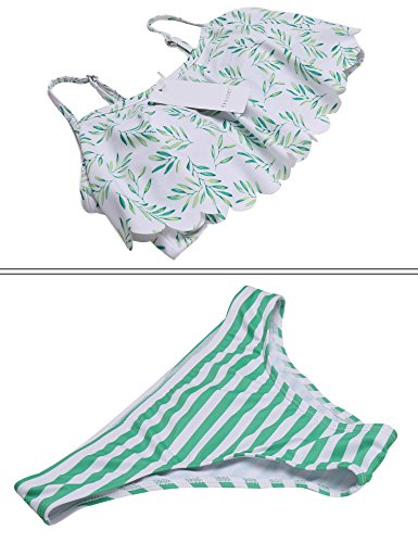 Ekouaer Womens 2 Pcs Swimsuit Ruffle Bikini Top Sexy Striped Hipster Bottom (Green, L) (Striped Hipster)