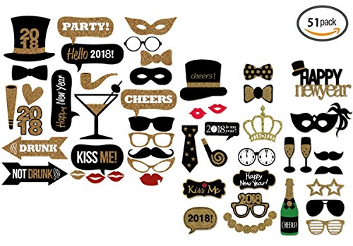 2018 New Year Photo Booth Props, LepoHome 51 Pieces Photo Booth Prop DIY Kit for New Year, Graduation Ceremony, Wedding and Party Supplies
