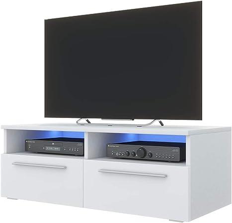 Siena Meuble Tv 100 Cm Blanc Mat Fronts Blanc Brillant Avec Led Bleue Amazon Fr Cuisine Maison