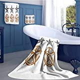 Texas Star Customized bath towel combination Vintage Western Stars Antique Hand Drawn Illustration Stripes Fun Hand towels set Black White and Pale Brown