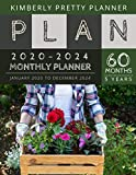 5 year monthly planner 2020-2024: 2020-2024 monthly calendar 5 year | Planner for 60 Months with internet record page | flower basket design