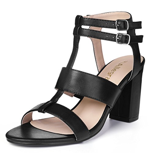 Chunky Black Womens Allegra Strappy K Heel Allegra Sandals K ZqBIxFUB