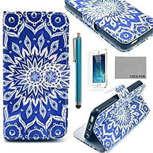 SOL COCO FUN? Blue Peacock Pattern PU Leather Case with Screen Protector, Stand and Stylus for iPhone 5/5S