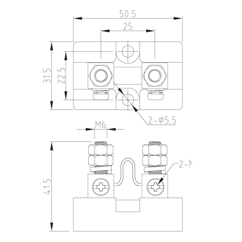 CG 50A 50mV Ampere Electrical Digital DC Current Shunt Resistor for amp Panel Ammeter Current Measurement Tester Gauge