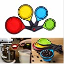 DECORA 4PCS Silicone Collapsible Measuring Cups Set for Cooking Use(Red,Blue,Yellow,Green))
