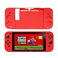 Abluter Soft Silicone Gel Rubber Back Case Cover Shell Skin for Nintendo Switch Game Controller 2017-Red