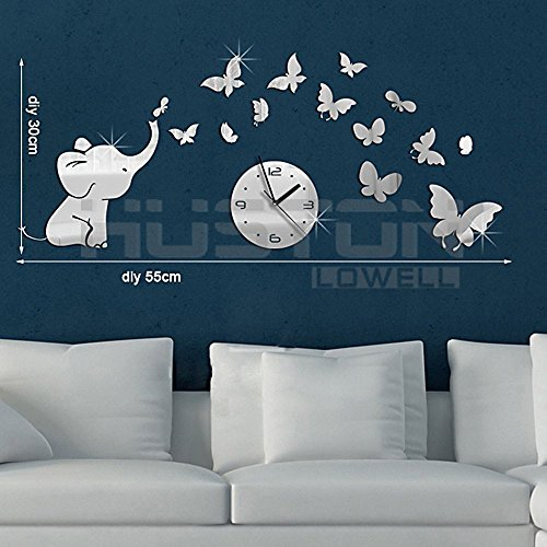 Wonderpark Mirror Silver little elephant with butterfly Creative Wall Clock Mirror Wall (Lowell 3 Light)