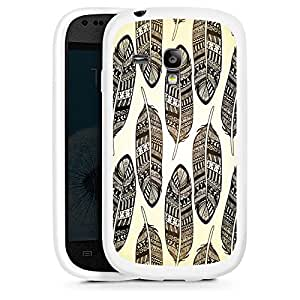 Silicona Carcasa blanco Funda para Samsung Galaxy S3 Mini - Ethno Feathers