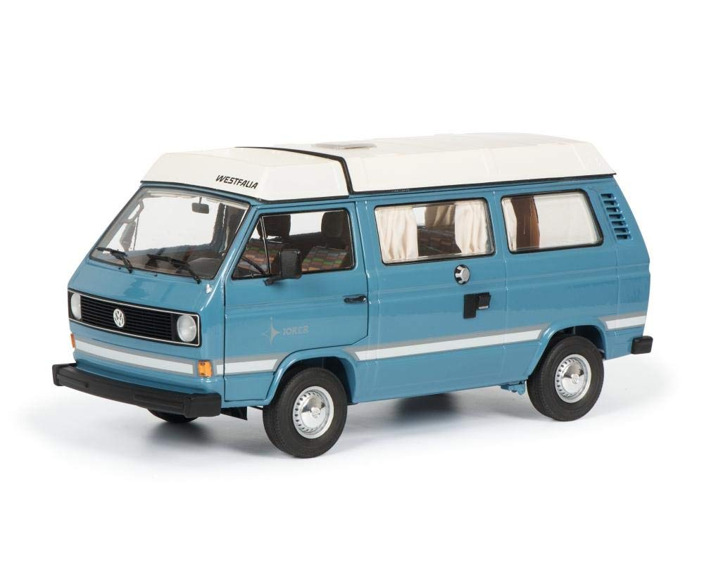 Volkswagen T3 Westfalia Joker Camping Bus with Folding Roof Blue Limited Edition to 1,000 Pieces Worldwide 1/18 Diecast Model by Schuco 450038700
