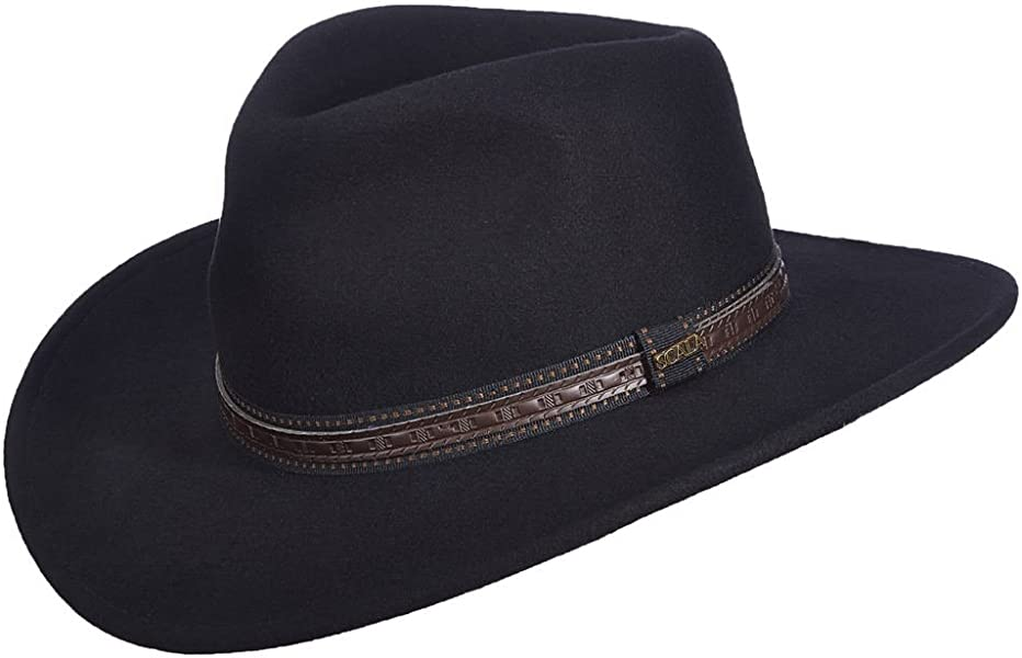 46e22c6db0b45 Amazon.com  SCALA Men s Crushable Wool Outback Hat Black Small  Clothing