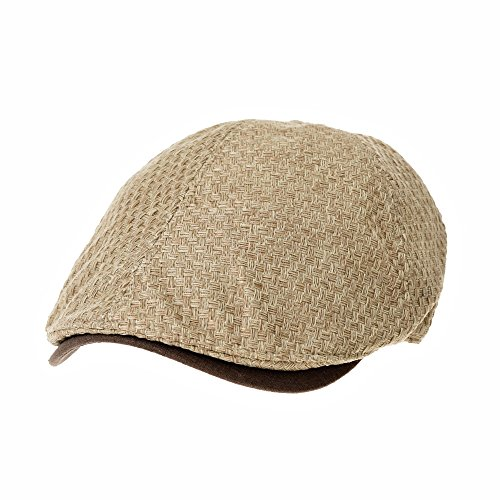 WITHMOONS Flat Cap Summer Cool IVY Style Newboy Paper Straw Hat Simple Gatsby Hat CR3927 (Beige)