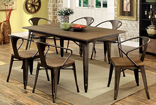 Furniture of America Cadiz 7-Piece Industrial Dining Set - Industrial style inspired dining set Natural wood top on rugged metal legs, matching chairs with metal frame and wood seat Finished in natural elm, set includes one (1) dining table and six (6) dining chairs - kitchen-dining-room-furniture, kitchen-dining-room, dining-sets - 51kixygrBPL -