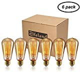 Vintage Edison Bulb, Elfeland 40w Dimmable Squirrel Cage Filament Vintage Light Bulbs ST58 Antique Teardrop Design Retro Pendant Lights for Restaurant Home Office E26/E27 110-130V (6 Pack)