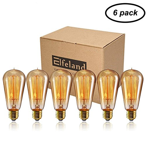 - Vintage Edison Bulb, Elfeland 40w Dimmable Squirrel Cage Filament Vintage Light Bulbs ST58 Antique Teardrop Design Retro Pendant Lights for Restaurant Home Office E26/E27 110-130V (6 Pack)