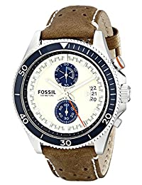 Fossil Men's CH2951 Wakefield Stainless Steel Watch with Brown Leather Band