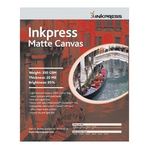 Inkpress Artist's Waterproof Stretchable Canvas, Bright White Matte Inkjet Cloth, 20mil., 350gsm., 13