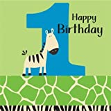 Creative Converting Wild at One Zebra 1st Birthday Lunch Napkins, 16 Count
