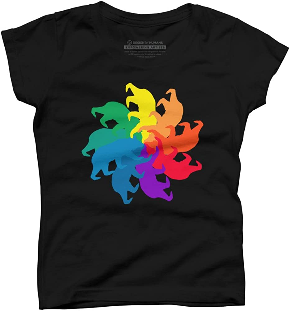 Design By Humans Bear Color Wheel Girls Youth Graphic T Shirt