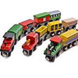 12 Pieces Wooden Train Cars Set Includes 3 Wooden Engines, Magnetic Train Toy for Kids and Toddlers, Compatible with Thomas Wooden Railway Track, Brio, All Major Brands by Moombike