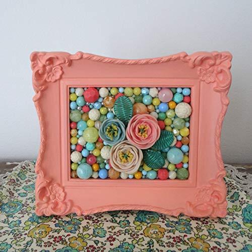 (Peach Mosaic Art. Plastic Beads, Plastic Flower. Floral Picture. Painted Ornate Frame. Kitsch Retro Home Decor. Basket Weave Flower 3d Art)