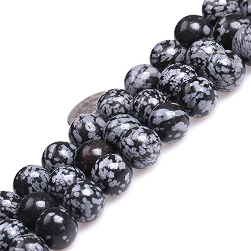 Snowflake Obsidian Beads for Jewelry Making Gemstone Semi Precious 12mm Round 15